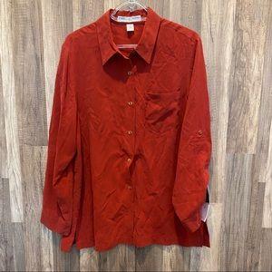 Vintage Silk Josephine Chaus Red  Button Shirt M